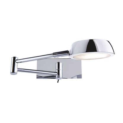 DOUBLE SWING-ARM CHROME ADJUSTABLE WALL LIGHT, SWITCHED 3863CC