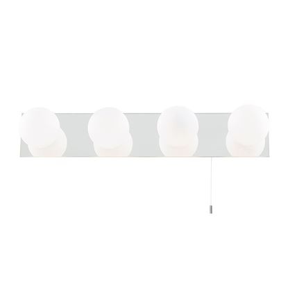 GLOBE IP44 CHROME 4 LIGHT MIRROR LIGHT WITH OPAL GLASS SHADES, SWITCHED 6337-4-LED