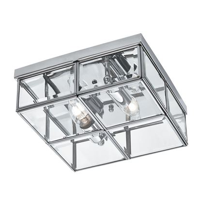 CHROME 2 LIGHT FLUSH FITTING WITH CLEAR BEVELLED GLASS SHADE 6769-26CC