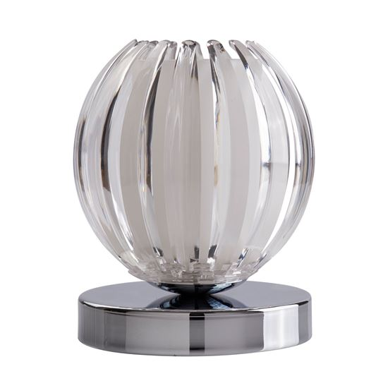CHROME TOUCH TABLE LAMP WITH CLEAR ACRYLIC & FROSTED GLASS 1811CL