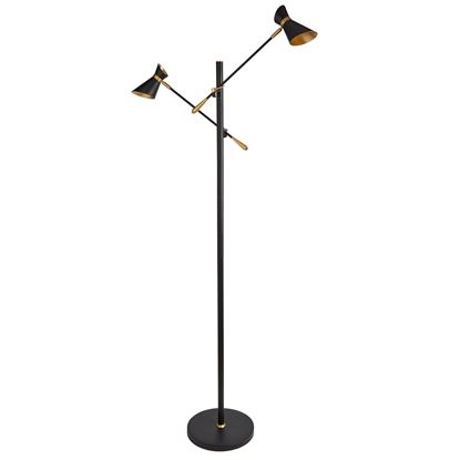 DIABLO MATT BLACK, GOLD & WHITE, LED 2 LIGHT FLOOR LAMP 5962-2BG