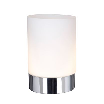 CHROME CYLINDRICAL TOUCH TABLE LAMP WITH OPAL WHITE GLASS SHADE 9791CC