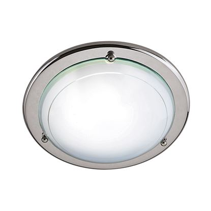 SILVER FLUSH LIGHT FITTING WITH WHITE & CLEAR GLASS DIFFUSER 702CC