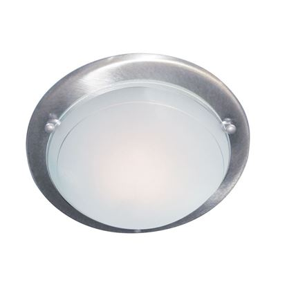 SATIN SILVER FLUSH LIGHT FITTING WITH WHITE & CLEAR GLASS DIFFUSER 702SS