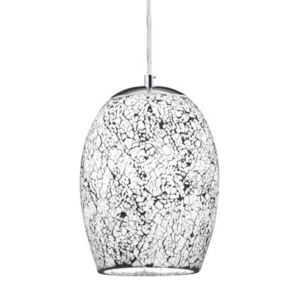 CRACKLE WHITE MOSAIC GLASS DOME FITTING WITH SATIN SILVER TRIM 8069WH