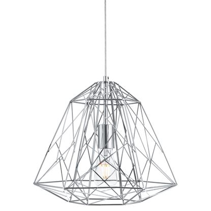 CHROME GEOMETRIC CAGE FRAME PENDANT LIGHT 7271CC