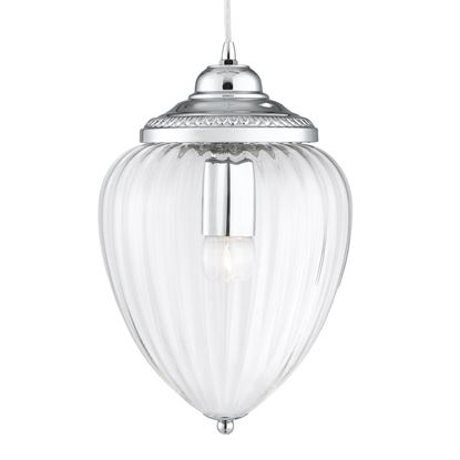PINAPPLE CHROME PENDANT LIGHT WITH CLEAR RIBBED OPTIC GLASS SHADE 1091CC