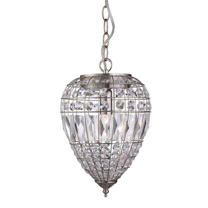 PINEAPPLE SATIN SILVER PENDANT LIGHT WITH CRYSTAL GLASS BUTTONS 3991SS