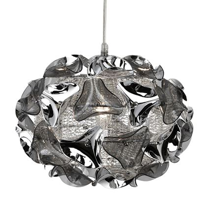 TRIANGLE CHROME PENDANT LIGHT WITH SMOKED ACRYLIC CURVED DETAIL 5801-1SM