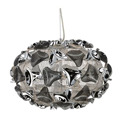 TRIANGLE CHROME 3 LIGHT PENDANT WITH SMOKED ACRYLIC CURVED DETAIL 5803-3SM