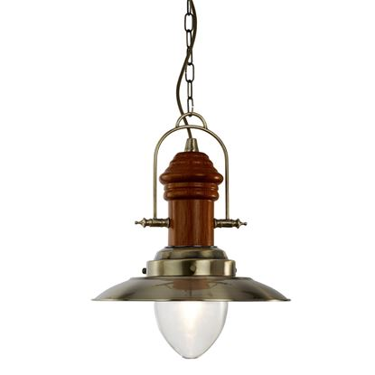 FISHERMAN ANTIQUE BRASS PENDANT LIGHT WITH DARK WOOD & CLEAR GLASS SHADE 3301AB