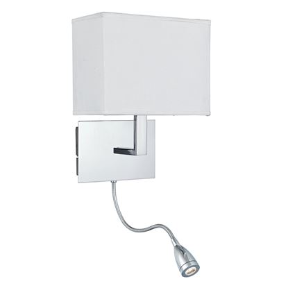 OBLONG CHROME WALL LIGHT OBLONG WHITE SHADE, LED FLEXI-ARM, SWITCHED 6519CC