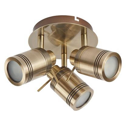 SAMSON ANTIQUE BRASS, 3 LIGHT IP44 BATHROOM ROUND SPOTLIGHT PLATE, ADJUSTABLE HEADS 6603AB