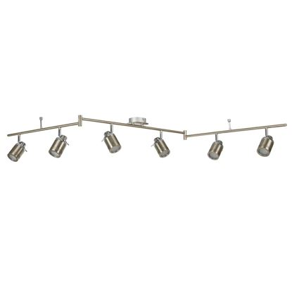 SAMSON SATIN SILVER, 6 LIGHT IP44 BATHROOM SPOT SPLIT-BAR, ADJUSTABLE HEADS 6606SS