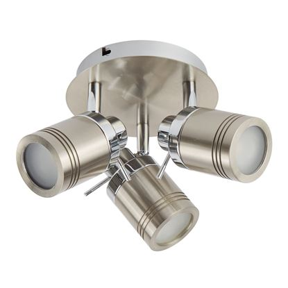 SAMSON SATIN SILVER, 3 LIGHT IP44 BATHROOM ROUND SPOTLIGHT PLATE, ADJUSTABLE HEADS 6603SS