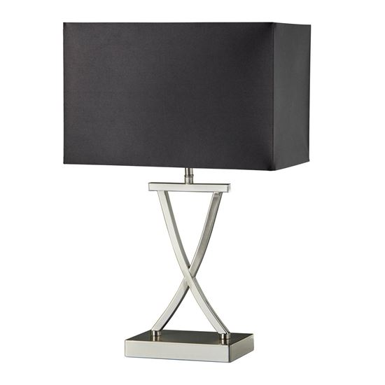 CROSS CLUB SATIN SILVER TABLE LAMP WITH DRUM SHADE 7923SS