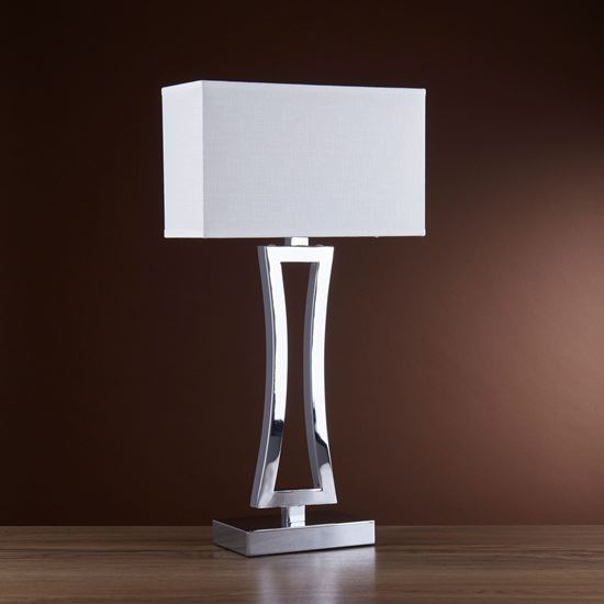 CUSION CHROME CURVED RECTANGULAR TABLE LAMP WITH WHITE OBLONG SHADE 4081CC-1