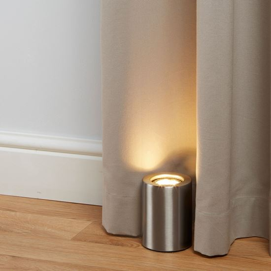 SATIN SILVER CYLINDER UPLIGHTER TABLE LAMP 3531SS