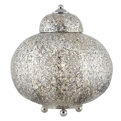 MOROCCAN SHINY NICKEL TABLE LAMP WITH PATTERNED FINISH 8221-1SS