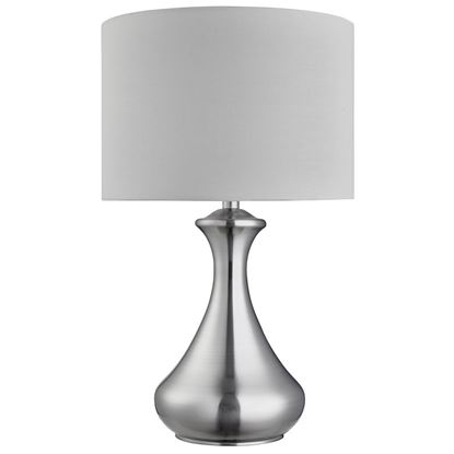 SATIN SILVER TOUCH TABLE LAMP WITH WHITE FABRIC SHADE 2750SS
