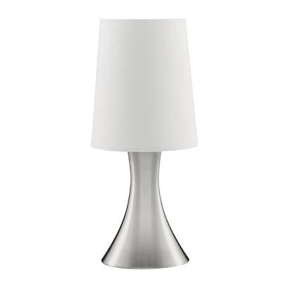 SATIN SILVER TOUCH TABLE LAMP WITH WHITE FABRIC SHADE 3922SS
