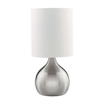SATIN SILVER TOUCH TABLE LAMP WITH WHITE FABRIC SHADE 3923SS
