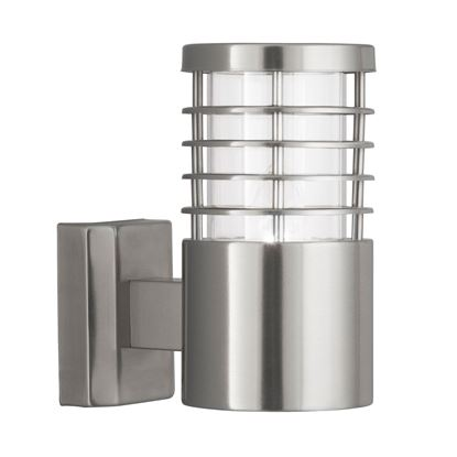 SATIN SILVER LOUVRE IP44 OUTDOOR LIGHT WITH POLYCARBONATE DIFFUSER 1555SS
