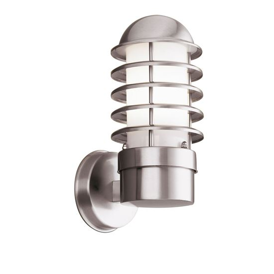 STAINLESS STEEL LOUVRE IP44 OUTDOOR LIGHT WITH POLYCARBONATE DIFFUSER 051