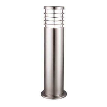 SATIN SILVER IP44 OUTDOOR BOLLARD LIGHT WITH POLYCARBONATE DIFFUSER 1556-450