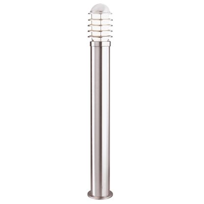 STAINLESS STEEL LOUVRE IP44 OUTDOOR BOLLARD LIGHT WITH POLYCARBONATE DIFFUSER 052-900