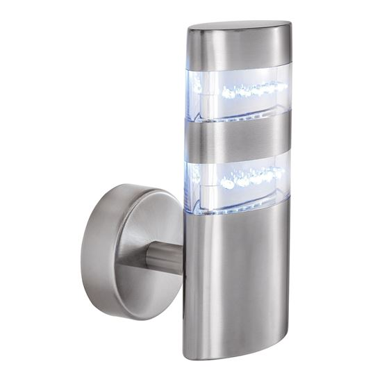 STAINLESS STEEL INDIA IP44 24 LED OUTDOOR WALL LIGHT WITH CLEAR POLYCARBONATE DIFFUSER 5308