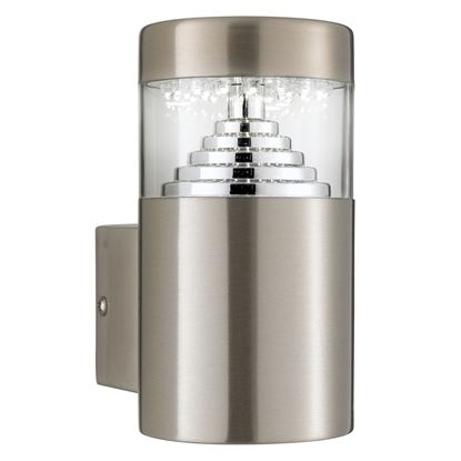 STAINLESS STEEL BROOKLYN IP44 30 LED OUTDOOR WALL LIGHT WITH CLEAR POLYCARBONATE DIFFUSER 7508