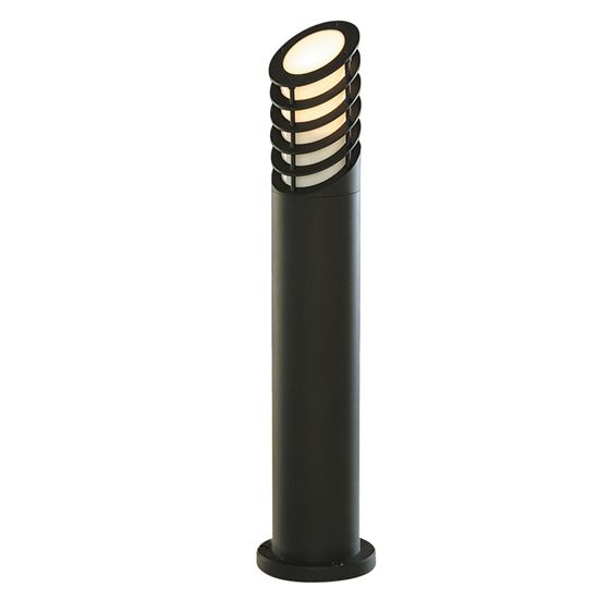 DIE CAST ALUMINIUM IP44 BLACK BOLLARD LIGHT WITH WHITE POLYCARBONATE DIFFUSER 1086-730