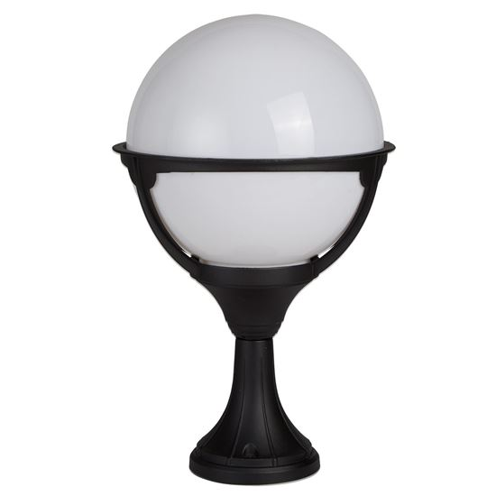ORB LANTERN OUTDOOR 1 LIGHT POST, BLACK/ROUND OPAL SHADE 8740