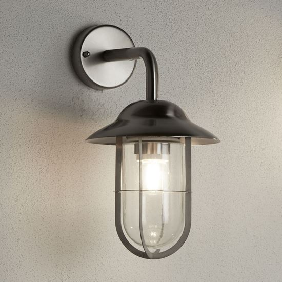 TORONTO IP44 STAINLESS STEEL OUTDOOR WALL LANTERN CLEAR GLASS 3291SS