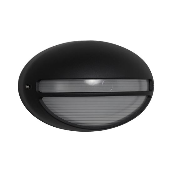 DIE CAST ALUMINIUM BLACK IP44 OVAL OUTDOOR LIGHT WITH RIDGED OPAL GLASS WB/FLUSH 5544BK