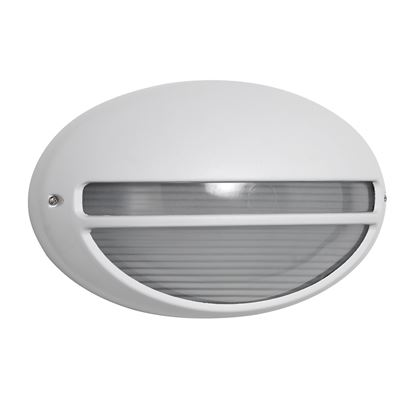 DIE CAST ALUMINIUM WHITE IP44 OVAL OUTDOOR LIGHT WITH RIDGED OPAL GLASS WB/FLUSH 5544WH