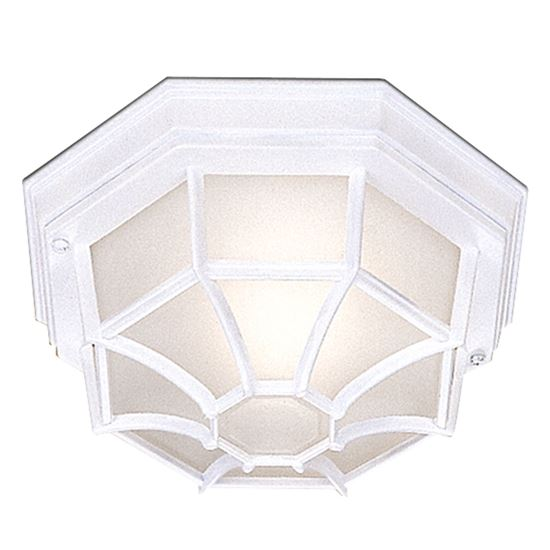 DIE CAST ALUMINIUM WHITE IP44 HEXAGONAL FLUSH OUTDOOR WITH WHITE SANDED GLASS 2942WH