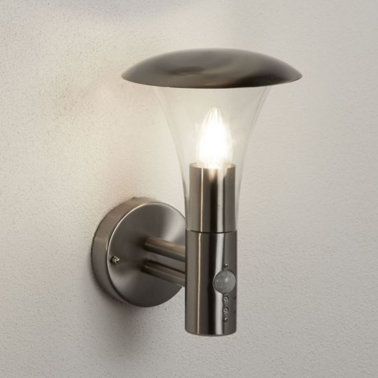 STRAND IP44 STAINLESS STEEL OUTDOOR WALL LIGHT WITH CLEAR POLYCARBONATE DIFFUSER 095