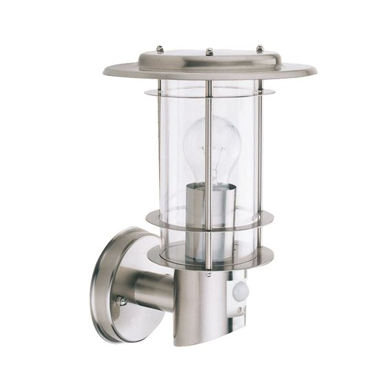 STAINLESS STEEL IP44 OUTDOOR LIGHT MOTION SENSOR, CLEAR POLYCARBONATE SHADE 6211