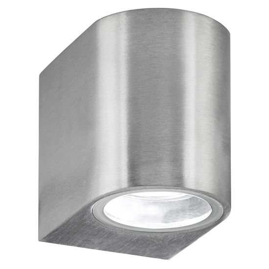 SILVER IP44 OUTDOOR LIGHT WITH FIXED GLASS LENS 8008-1SS-LED