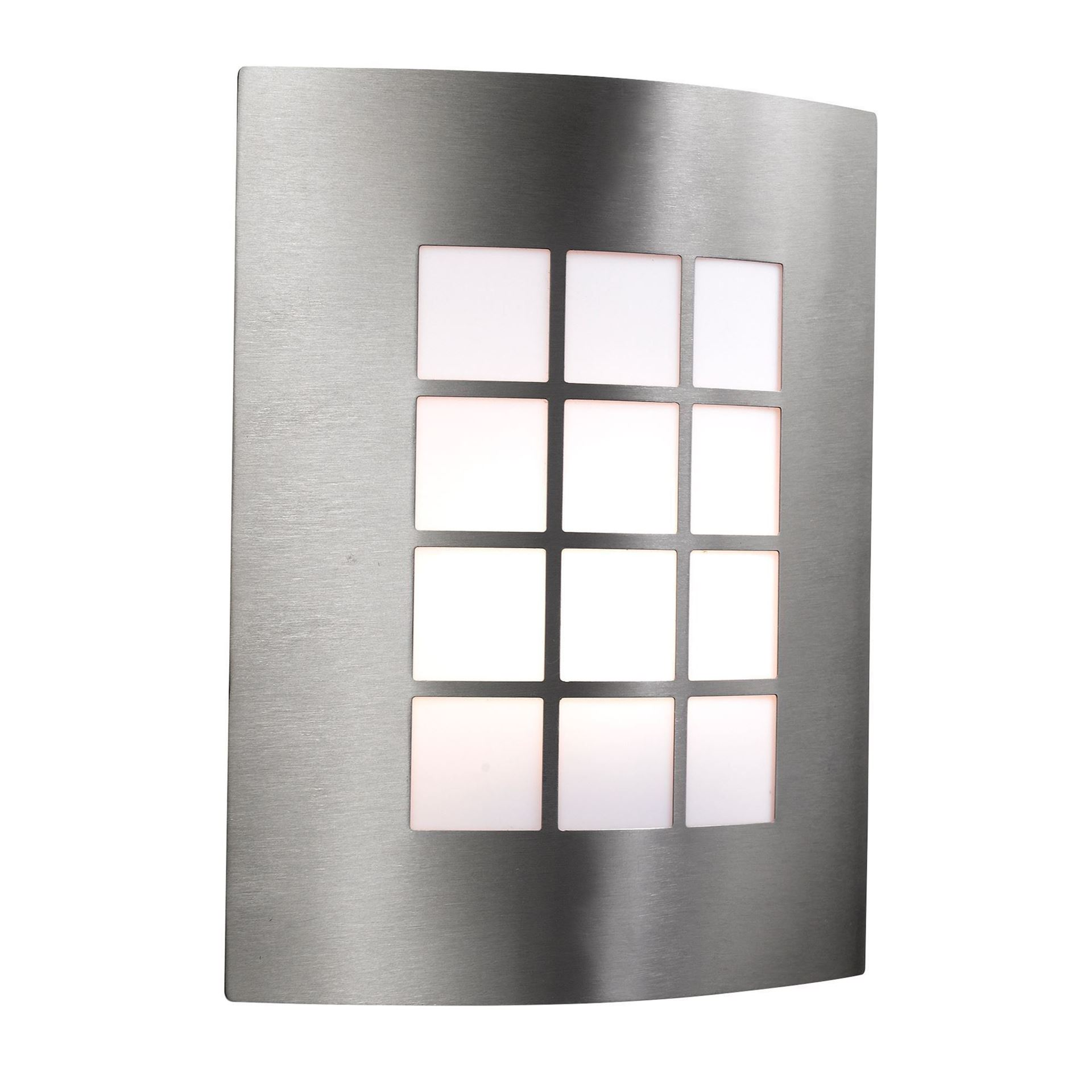 STAINLESS STEEL IP44 OUTDOOR WALL LIGHT WITH SQUARE OPAL POLYCARBONATE DIFFUSER 3140SS