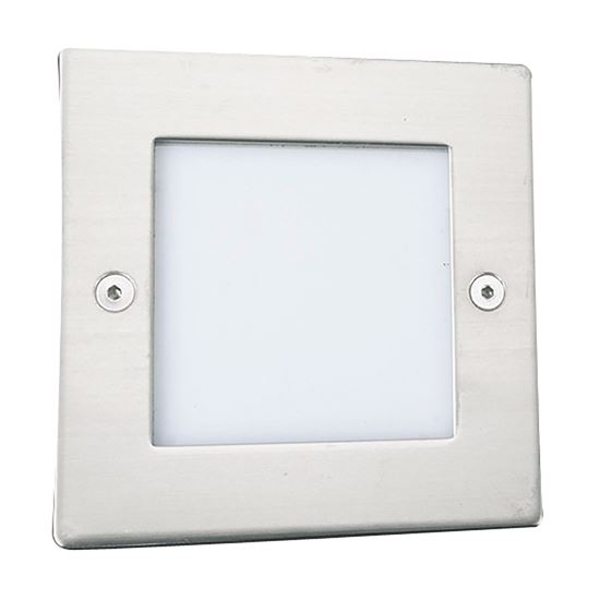 STAINLESS STEEL 9 LED SQUARE RECESSED LIGHT WITH TRANSLUCENT DIFFUSER 9907WH