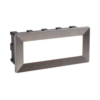 WALL LED INDOOR/OUTDOOR RECESSED RECTANGLE, OPAL WHITE POLYCARBONATE DIFFUSER 0762