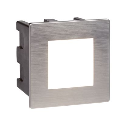 STAINLESS STEEL LED INDOOR/OUTDOOR RECESSED SQUARE, OPAL POLYCARBONATE DIFFUSER 0761