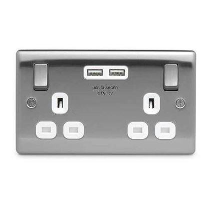 BG Nexus Metal Brushed Steel Double USB Socket White Inserts NBS22U3W