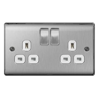 BG Nexus Metal Brushed Steel Double Socket White Insert NBS22W