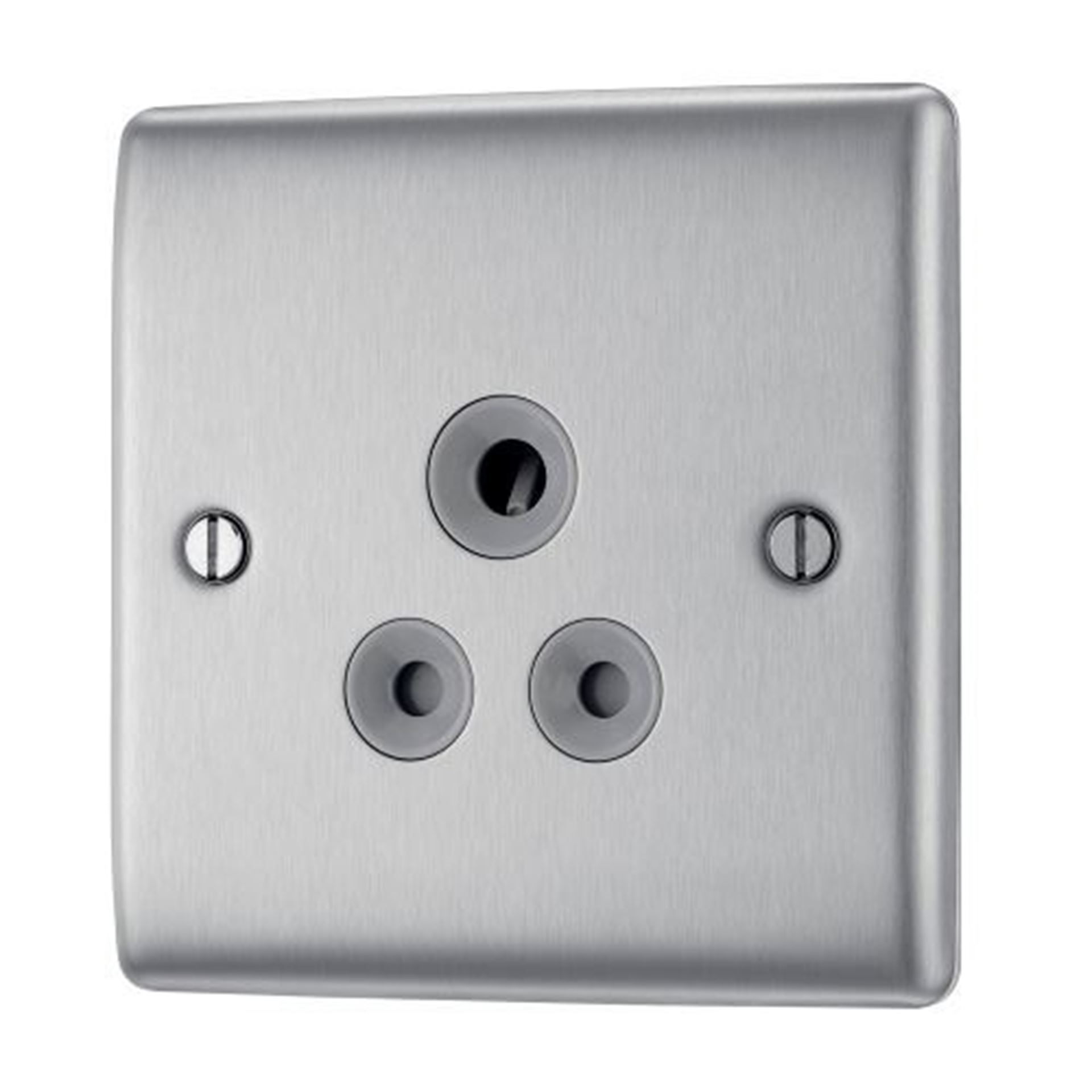BG Nexus Metal Brushed Steel 2a Unswitched Socket Round Pin NBS28G