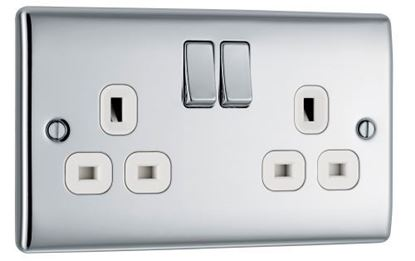 BG Nexus Metal Polished Chrome Double Socket Switched NPC22W