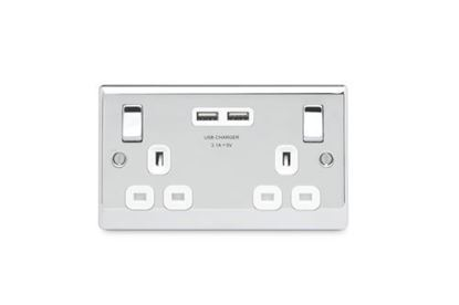 BG Nexus Metal Polished Chrome Double USB Socket White Inserts NPC22U3W